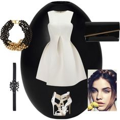 focus on the black and white by atania1390 on Polyvore featuring polyvore fashion style Giuseppe Zanotti Moda In Pelle Kenneth Jay Lane Oscar de la Renta NYMPHENBURG