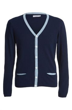 Fall Cardigan: A mix of navy & baby blue