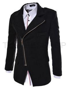(PJK-BLACK) Mens Casual Unbalance Zipper Wool Coat Jacket