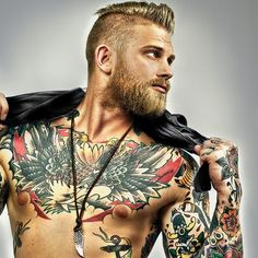 "{As Madea says: ""Helyer!"" Haha... Damn... Mohawk, Blond, Bearded, Badass Tats, muscles... *swoon*}  #hottieswithtattoos #tattoos #womenwithtattoos"