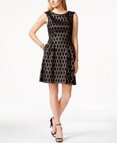 Vince Camuto Foil Lattice-Print Pleated Fit & Flare Dress | macys.com