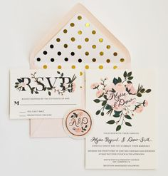 Custom Hand Painted Wedding Invitation Suite - Gold and Blush floral and polka dots