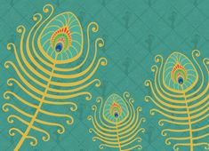 Peacock feather greeting card cover illustration by Jessica Greenwalt. www.jgreenwalt.com