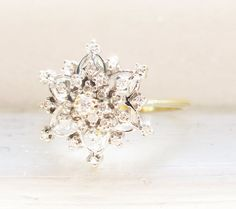 Vintage Snowflake Diamonds 14K Yellow and by RosenrosettAntiques, $485.00