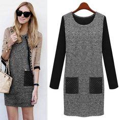 Stylish Round Collar Long Sleeve Color Block Faux Leather Spliced Women's Dress #women, #men, #hats, #watches, #belts