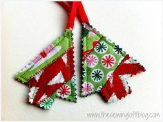 Easy quilted holiday ornaments from fabric scraps.  They also make great gift tags! @TheSewingLoft