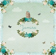 geboortekaartje Jamiro - vlinders, rozen, wolken, uiltje www.hetuilennestje.nl
