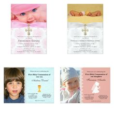 #invitations with photo #christening #partyideas #giftideas #holycommunion #baptism #partysets #partydecor Available for boy, girl and twins in different colors.  Check detail at www.zazzle.com/celebrationideas/christening or www.zazzle.com/graphicdesign/christening - Looking for first holy communion party ideas at http://bit.ly/christeningideas