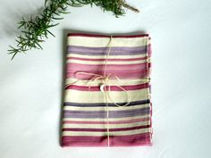 Kitchen towels   gift  pink to violet stripes  mum by lalunadianna