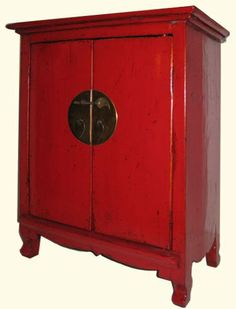 """Amazon.com - Red Shanxi Elmwood Oriental Cabinet with carved apron, brass hardware and one shelf - 18"""""""