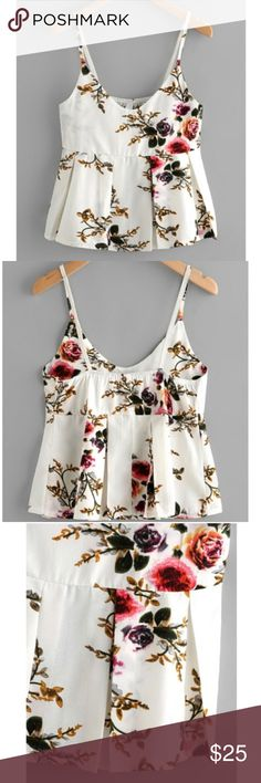 """Floral Cami Spaghetti Strap Tank-top Tank Cropped + This is a Re-Posh item since it didn't fit me like I wanted it to 😭 + Brand new 