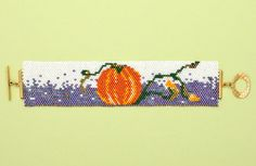 Pumpkin patch peyote stitch bracelet | BeadandButton.com