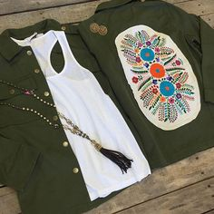 """We love all things olive and floral!  Floral embroidered patch olive jacket- $79.99 (S-L) #ZSupply racer back tank- $24.99 (XS-L) Pink Panache necklace- $76.99 Pink Panache earrings- $40.99  We ship! Call to order! 903.322.4316 #shopdcs #goshopdcs #shoplocal #love #floral #olive #oliveisthenewblack #love #ship"" Photo taken by @daviscountrystore on Instagram, pinned via the InstaPin iOS App! http://www.instapinapp.com (01/28/2016)"