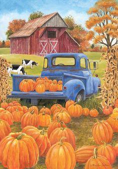 Pumpkin Patch Pickup Autumn House Flag Farm Barn 28 x 40 Briarwood Lane for sale online Autumn Painting, Autumn Art, Autumn Home, Fall Clip Art, Farm Paintings, Autumn Scenes, Farm Barn, Fall Wallpaper, Country Art