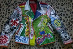 Hand-painted studded leather jacket punk metal custom rock rancid crass oi denim