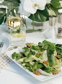 Watercress and Witlof Salad with Fresh Pear and Honeyed Walnuts