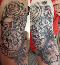 Pocket watch, lion and rose. Blackwork tattoo, Roman numerals. #pocketwatch #pocketwatchtattoo #liontattoo #rosetattoo #blackwork #blackworktattoo