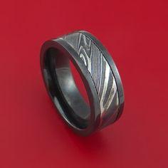 Black Zirconium and Kuro Damascus Steel Band Custom Made Ring