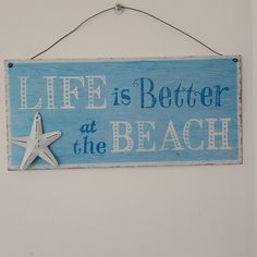 LIFE IS BETTER AT THE BEACHBLUE METAL NAUTICAL CHIC N SHABBY STARFISH SIGN