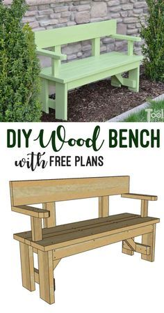 Build a cute wood bench with lumber from your local hardware store. This unique outdoor wood bench has a back and arm rests for comfort. Free building plans on hertoolbelt. # build wood bench DIY Wood Bench with Back Plans - Her Tool Belt Wood Bench With Back, Diy Wood Bench, 2x4 Bench, Build A Bench, Outdoor Wood Bench, Indoor Outdoor, Wood Benches, Outdoor Crafts, Woodworking Bench