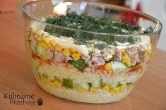 sałatka warstowa z tuńczykiem i makaronem Ketchup, Grains, Cooking Recipes, Salad, Food, Recipies, Chef Recipes, Essen, Salads
