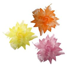 Oh SO Bright & Beautiful . . . Set of Three ~ Versatile Dotted Silk Flower Clips Hair Bows with Feathers Price : $9.99   #Webb_Direct_2U #flowers #hair_clips #hair_bows