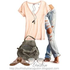 peach top ripped jeans, created by stacy-gustin