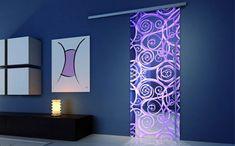 Porta de vidro personalizada com adesivo