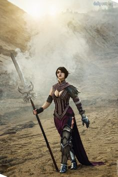 Morrigan from Dragon Age, the outfit is different but it still looks wicked.