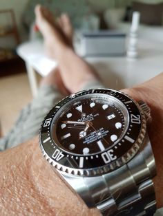 Rocking this deep sea this morning. Still think that this big bad boy is a perfect watch... Waiting to see the new red writing dweller in real life... But I still think it will be difficult to take the place of this one... Even checked it out on a woman yesterday... looked really cool.  #deepsea #rolexwrist #rolex #dweller #redwriting #womoenwatch #toolwatch #girlwatch #summer2017 #vejbystrand #3210 #oyster