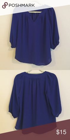 Cobalt blue blouse KLD Signature: cobalt blue blouse with quarter-length sleeves. KLD Signature Tops Blouses