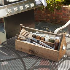 Loving this for Blackstone spatulas 13 Brilliant Ways to Store Grill Tools — The Family Handyman Utensil Storage, Tool Storage, Lumber Storage, Barbacoa, Ikea Bar, Diy Grill, Grill Area, Beginner Woodworking Projects, Woodworking Bench