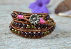 Boho beaded wrap bracelet tribal rustic bracelet pink garnet