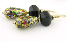 Black onyx confetti 24k gold Venetian Murano glass gold fill earrings @cserpentDesigns