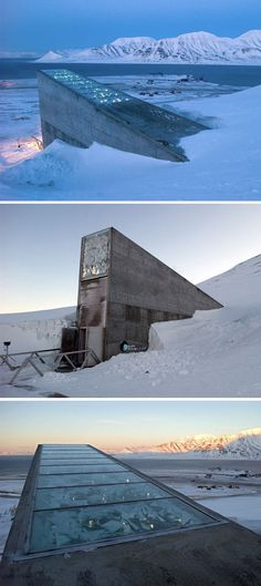 The Global Seed Vault: designed to store and protect samples of every type of seed from every seed collection in the world. Descending almost 500 feet under the permafrost, the entrance tunnel to the seed vault is designed to withstand bomb blasts and earthquakes.