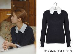 Yoon So Ah (Shin Se Kyung 신세경) wears a navy sweater with a white riffled collar and ruffled lace detail around sleeves in Episode 16 of Bride of the Water God. It is the Claudie Pierlot Madame fine wool sweater with removable ruffled collar in. Navy Sweaters, Wool Sweaters, Korean Fashion, Women's Fashion, Fashion Outfits, Bride Of The Water God, Shin Se Kyung, Navy Lace, White Collar