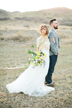 Wind Blown Bride and Groom | Callie Hobbs Photography | Bohemian Desert Wedding Shoot in Colorado