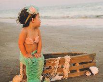 Crochet Mermaid tail with Top and Starfish headband, Crochet mermaid tail for babies and toddlers, Crochet Mermaid tail photo prop,