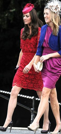 "Kate Middleton, the Duchess of Cambridge, at the Thomas Sutton and Harriet Colthurst Wedding in Collette Dinnigan ""French Floral Lace"" red dress and classic Prada black patent platform pumps. Wiltshire, September 25, 2011"