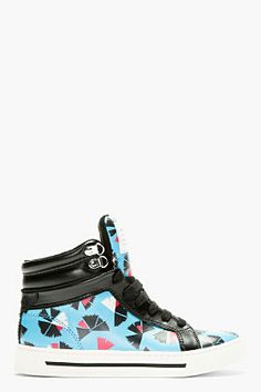 Marc By Marc Jacobs Blue Leather Pinwheel Cute Kicks High-top Sneakers for women | SSENSE