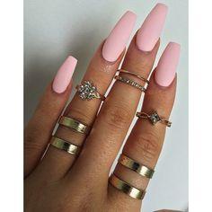 Matte Baby Pink Long Ballerina Nails