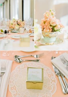 Peach flowers and table linens I Peach Wedding Inspiration