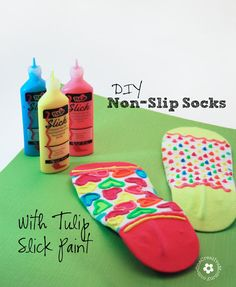If the kids run around like mad men inside the house, this DIY Non-Slip Socks will be the hero.