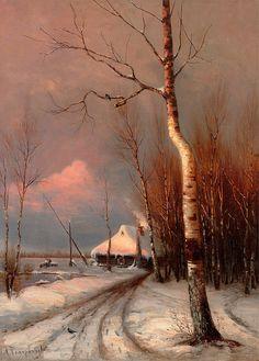 Mikhail Mikhailovich Pomerantsev (Russian, 1854-?). Winter Lanscape