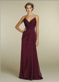 Spaghetti Straps Chiffon Empire Pleated Sleeveless Floor Length Bridesmaid Dress BD249265