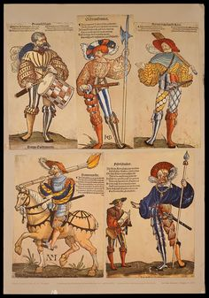 Colorized landsknecht woodcuts