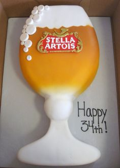 Becky's Pastries, Stella Artois Birthday cake.  Airbrushing by the...
