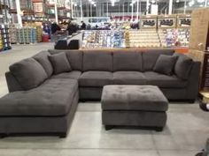 Have been looking for a gray couch - wasn't necessarily thinking of a sectional, but kind of like this...it's  a nice material, and is only $799 at Costco (thanks Nesties)!  Not exactly where I thought I'd be buying a couch, but I honestly haven't seen anything else at furniture stores I like better, or that is as comfortable!  Also with 3 kids under 4.5, i probably shouldn't be spending too much anyway!!!  So, honest thoughts, please...