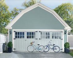 Garage painted with Benjamin Moore Regal Select Exterior Revive Paint for Vinyl Siding Grey Exterior, House Paint Exterior, Exterior Paint Colors, Exterior House Colors, Paint Colors For Home, Paint Colours, Exterior Design, Cottage Exterior, Exterior Homes