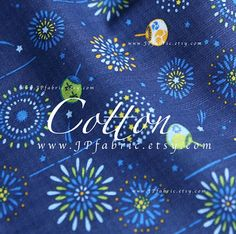 Fireworks Japanese Fan Blue Cotton Boys Fabric by the yard